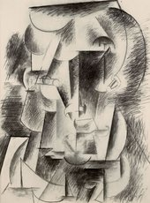 Pablo Picasso Head of a Man (Head with Moustache) (Tête d'Homme (Tête Moustachue)) 1910 or 1912
