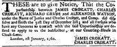 Notice reporting the dissolving of James and Charles Crokatt & Co