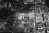 Aerial view of NYU-Bellevue project in progress (looking south), 3 November 1958