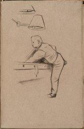William Rothenstein Man Playing Pool c.1890