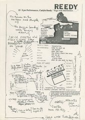 Handout from the performance Yoga with Interference by Carlyle Reedy as part of We'll Make Up a Title When We Meet, London/LA Lab at Franklin Furnace, New York 1981
