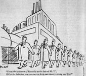 Frank Modell, Cartoon originally published in the New Yorker, 18 January 1958, reprinted in Technology Review, April 1958