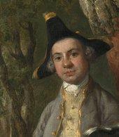 Thomas Gainsborough, Muilman, Crokatt and Keable in a Landscape, detail of the left-hand sitter