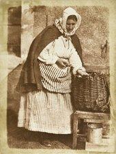 David Octavius Hill and Robert Adamson, Aberdeen Fishwife (Mrs. Flucker Of Newhaven, Shucking Oysters) 1845
