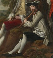 Thomas Gainsborough, Peter Darnell Muilman, Charles Crokatt and William Keable in a Landscape, detail of William Keable