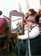 Greenham Common woman with mirror, c.1982–4