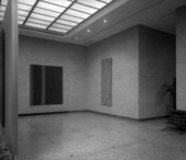 Installation view of The Collection of Mr and Mrs Ben Heller, Cleveland Museum of Art, 1962, showing Adam at the left