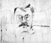 Larry Rivers, Moustache, Portrait of Pierre Restany 1962
