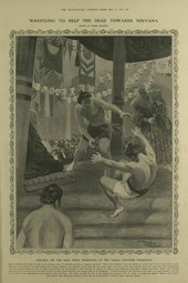 Frank Reynolds, Wrestling to Help the Dead Towards Nirvana, published in Illustrated London News, 9 July 1910