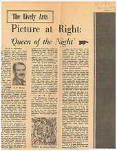R.P. Harriss, review of The Collection of Mr and Mrs Ben Heller in the Baltimore Sunday American, 3 December 1961, with a reproduction of Newman's Queen of the Night I