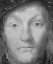 Detail in infrared light of the sitter's face in ?British School, 'Portrait of a Gentleman' c.1545–60