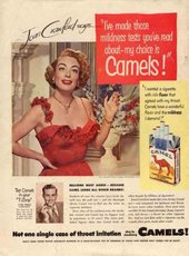 "'Joan Crawford says – ""I've made those mildness tests you've read about – my choice is Camels!""' Advertisement for Camel cigarettes"