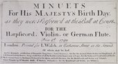 Minuets for His Majesty's Birth Day, Pocket-sized score published in London, 1760