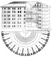 Willey Reveley, Elevation, Section and Plan of Jeremy Bentham's Panopticon Prison 1843, originally 1791