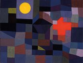 abstract painting made of blocks of dark muted reds greens and blues. a bright yellow round shape is in the top left.