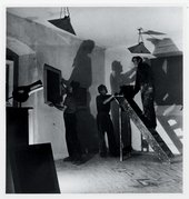 Sven Berlin, John Wells and Peter Lanyon hanging their work for the first St Ives-based Crypt Group of Artists exhibition 1946