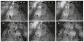 Stills from Florian Schneiders Ceuta 2006 cctv footage of migrants climbing the ceuta border fence