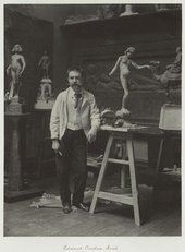 Photographic portrait by Ralph Robinson of Edward Onslow Ford in his Studio 1892