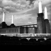 A view of Battersea Power Station in black and white