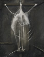 Dark oil painting with an abstract white figure in the center with arms stretched out.