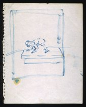A pen sketch on paper of a figure crawling with a box drawn around it
