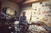 Francis Bacon in his studio in London in 1974