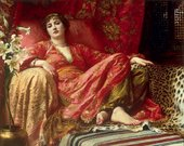 Frank Dicksee Leila 1892 painting of a beautiful young woman wearing sumptuous oriental robes reclining on a couch that is draped with furs and luxurious fabrics