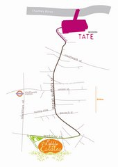 Fritz Haeg Edible Estates 2007 illustrated map of the Edible Estates in relation to Tate Modern