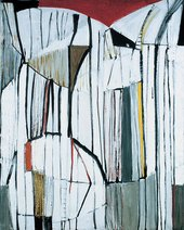 Terry Frost Red, Black and White 1955 oil and collage, 121 x 63.5 cm