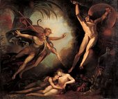 Henry Fuseli Satan Starting from the Touch of Ithuriel's Spear (Satan flieht, von Ithuriels Speer beruht) 1779