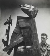 George Fullard and his sculpture Woman with Flowers 1959–60, photographed by Frank Monaco