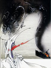Gerald Scarfe Belgrano Nightmare Thatcher Wakes Screaming 1982 a figure in bed with a huge hooked nose and curlers in her hair awakens screaming as a monster emerges from a burning battle ship