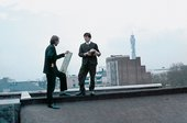 Gilbert & George with their Object Sculptures on the roof of St Martin's School of Art, London, 1968