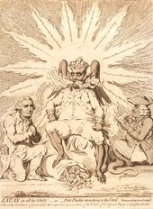 James Gillray Satan in all His Glory - or - Peter Pindar Crouching to the Devil