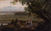 Giovanni Battista Lusieri Extensive Landscape on a Road Above the Tiber Valley, North of Rome 1781