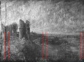 Raking light photograph of Sketch for Hadleigh Castle. Red lines help locate original stretcher bar marks