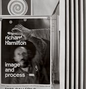 Poster for Richard Hamilton's Tate exhibition, 'Image and process 1952–82'