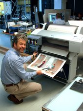 Fig.10 David Clarke, Head of Photography, with the Epson 7600 Colour Stylus printer.