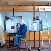 Richard Hamilton in his Oxfordshire studio 2003 With his paintings (right) The Sainsbury Wing, 1999–2000, and Bathroom fig 2.1, 1999–2000