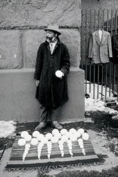 David Hammons performing Blizaard Ball Sale 1983 Cooper Square New York City