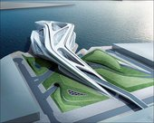 Zaha Hadid Artists impression Abu Dhabi Performing Arts Centre in Saadiyat Islands cultural district