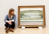 Tate Curator Helen Little in Lowry and the Painting of Modern Life Tate Britain, taking in Lowry's Hillside in Wales, 1962