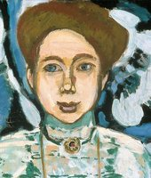 Henri Matisse Portrait of Greta Moll 1908 detail showing a womans head with her brown hair up and a round gold brooche at her throat pinned to her green dress The background is painted blue