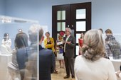 Curator Chris Stephens presents to patrons in the Barbara Hepworth exhibition