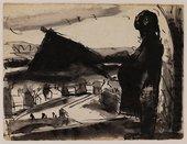 Josef Herman's Pregnant woman in landscape