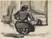 Josef Herman's Untitled, scrubbing the front step