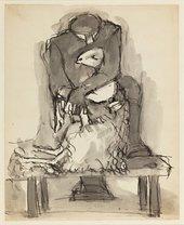 Untitled Sketch of Man shearing a sheep, Josef Herman