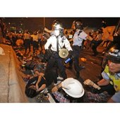 Hong Kong students clashing with police during the 2014 protest
