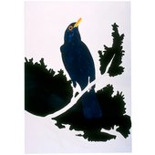 A screenprint of the Gary Hume image of a blackbird