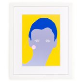 A framed Gary Hume print of a blue face with dark blue hair on a yellow background